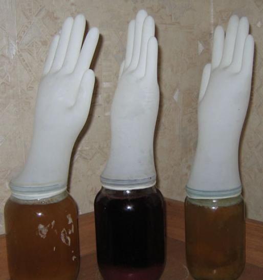 брожение вина под медицинской перчаткой