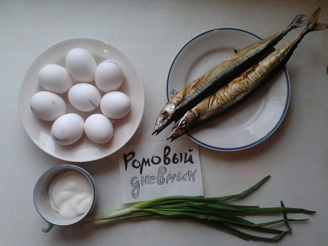 Фоторецепт простой закуски: яйца, фаршированные копченой рыбой