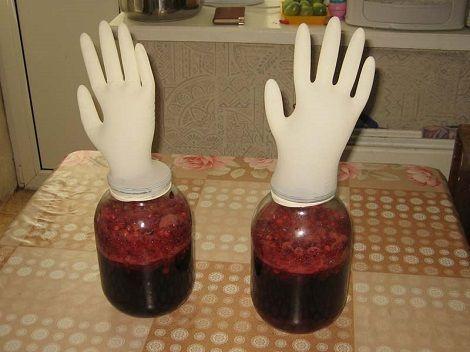 брожение наливки под перчаткой