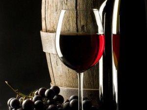 виноград, вино в бокале, бочка