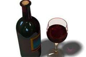 Бокал и бутылка с вином