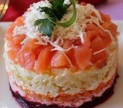 Рецепт салата из слабосолёной сёмги