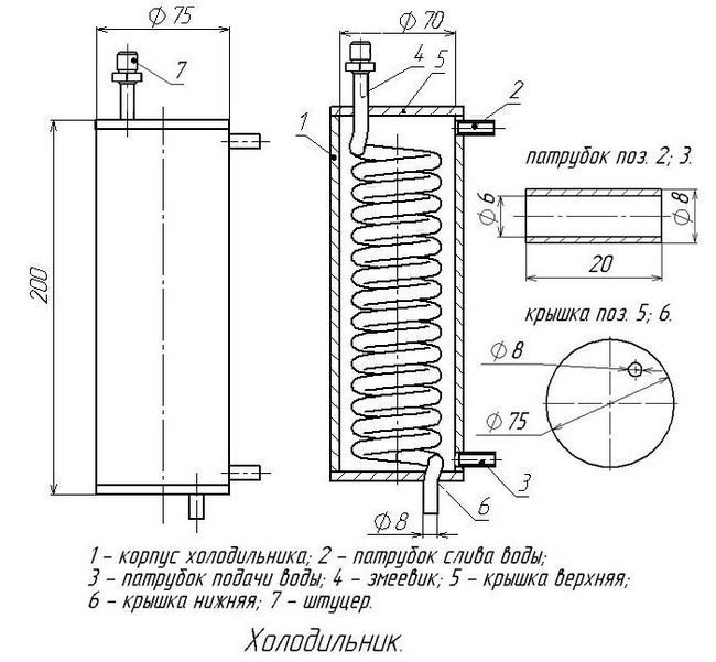 чертеж змеевика для самогонного аппарата